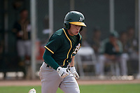Oakland Athletics shortstop Nick Allen (1) hustles down the first base line during a Minor League Spring Training game against the Chicago Cubs at Sloan Park on March 13, 2018 in Mesa, Arizona. (Zachary Lucy/Four Seam Images)
