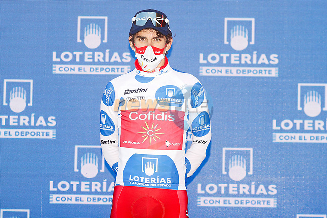 Guillaume Martin (FRA) Cofidis retains the mountains Polka Dot Jersey at the end of Stage 13 of the Vuelta Espana 2020 an individual time trial running 33.7km from Muros to Mirador de Ézaro. Dumbría, Spain. 3rd November 2020. <br /> Picture: Luis Angel Gomez/PhotoSportGomez | Cyclefile<br /> <br /> All photos usage must carry mandatory copyright credit (© Cyclefile | Luis Angel Gomez/PhotoSportGomez)