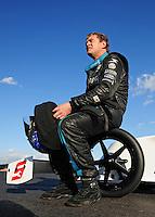 Jan 30, 2008; Chandler, AZ, USA; NHRA top fuel dragster driver David Grubnic during testing at the National Time Trials at Firebird International Raceway. Mandatory Credit: Mark J. Rebilas-US PRESSWIRE