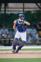 GCL Blue Jays catcher Hagen Danner (33) throws to second base during a game against the GCL Pirates on July 20, 2017 at Bobby Mattick Training Center at Englebert Complex in Dunedin, Florida.  GCL Pirates defeated the GCL Blue Jays 11-6 in eleven innings.  (Mike Janes/Four Seam Images)