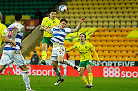 29th December 2020; Carrow Road, Norwich, Norfolk, England, English Football League Championship Football, Norwich versus Queens Park Rangers; The header from Jordan Hugill of Norwich City goes wide