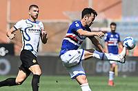 Maya Yoshida of UC Sampdoria and Edin Dzeko of FC Internazionale during the Serie A football match between UC Sampdoria and FC Internazionale at stadio Marassi in Genova (Italy), September 12th, 2021. Photo Image Sport / Insidefoto
