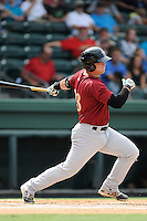 First baseman Matt Oberste (23) of the Savannah Sand Gnats bats in a game against the Greenville Drive on Sunday, August 24, 2014, at Fluor Field at the West End in Greenville, South Carolina. Greenville won, 8-5. (Tom Priddy/Four Seam Images)