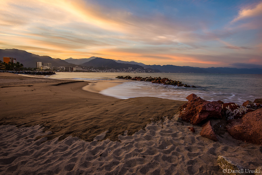 Fine Art Landscape, Seascape, Morning Sunrise photograph of the beaches and mountains in Puerto Vallarta Mexico.