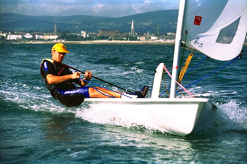 """The first Afloat.ie """"Sailor of the Year"""", Mark Lyttle is seen in training in Dublin Bay for the 1996 Olympics"""
