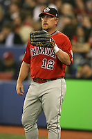 March 7, 2009:  Right Fielder Matt Stairs (12) of Canada during the first round of the World Baseball Classic at the Rogers Centre in Toronto, Ontario, Canada.  Team USA defeated Canada 6-5 in both teams opening game of the tournament.  Photo by:  Mike Janes/Four Seam Images