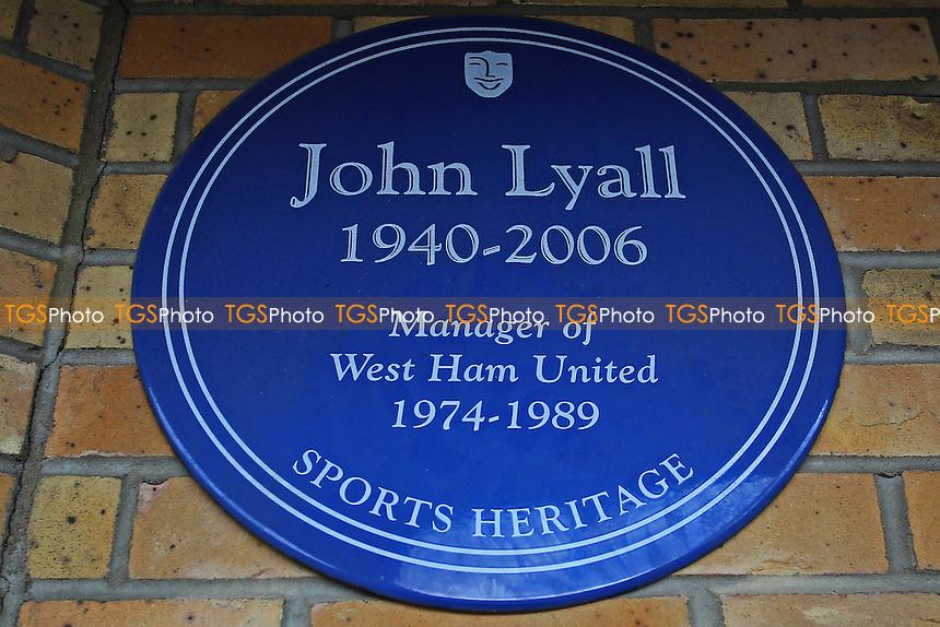 John Lyall blue plaque ahead of West Ham United Ladies vs Tottenham Hotspur Ladies, FA Women's Premier League Football at the Boleyn Ground, Upton Park