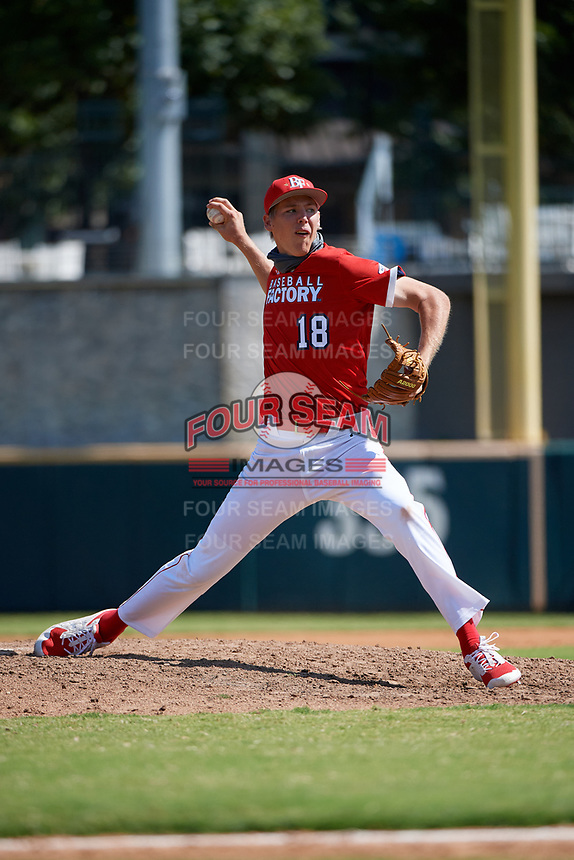 Pitcher Ryan Johnson (18) during the Baseball Factory All-Star Classic at Dr. Pepper Ballpark on October 4, 2020 in Frisco, Texas.  Pitcher Ryan Johnson (18), a resident of Red Oak, Texas, and is homeschooled.  (Mike Augustin/Four Seam Images)