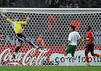 Angola goalkeeper Joao Ricardo makes a brilliant one hand save. Mexico and Angola played to a 0-0 tie in their FIFA World Cup Group D match at FIFA World Cup Stadium, Hanover, Germany, June 16, 2006.