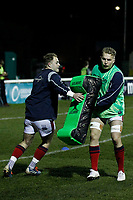 London Scottish hit the pads during the Greene King IPA Championship match between London Scottish Football Club and Nottingham Rugby at Richmond Athletic Ground, Richmond, United Kingdom on 7 February 2020. Photo by Carlton Myrie.