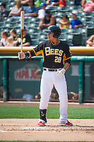 Efren Navarro (28) of the Salt Lake Bees at bat against the Omaha Storm Chasers in Pacific Coast League action at Smith's Ballpark on August 16, 2015 in Salt Lake City, Utah.Omaha defeated Salt Lake 11-4.  (Stephen Smith/Four Seam Images)