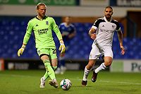 16th September 2020; Portman Road, Ipswich, Suffolk, England, English Football League Cup, Carabao Cup, Ipswich Town versus Fulham; David Cornell of Ipswich Town plays the ball away from Aleksandar Mitrovic of Fulham