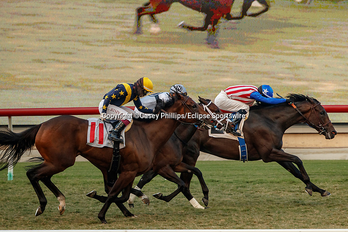 DEL MAR, CA  SEP 6:  #2 Madone, ridden by Flavien Prat, holds off #11 Ivy League, ridden by Umberto Rispoli, in the stretch of the Del Mar Juvenile Fillies Turf at Del Mar Thoroughbred Club on September 6, 2020 in Del Mar, CA.(Photo by Casey Phillips/Eclipse Sportswire/CSM.