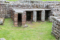Northumberland, England, UK.  Chesters (Cilurnum) Roman Fort.  Columns Replace Bricks to Support Floor in Bath House when Repairs were Made.