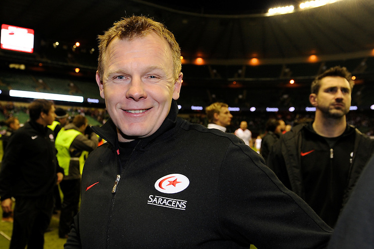 A very satisfied Mark McCall, Saracens Director of Rugby, after winning the Heineken Cup quarter final match between Saracens and Ulster Rugby at Twickenham Stadium on Saturday 6th April 2013 (Photo by Rob Munro)