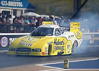 Jun 16, 2017; Bristol, TN, USA; NHRA funny car driver Jim Campbell during qualifying for the Thunder Valley Nationals at Bristol Dragway. Mandatory Credit: Mark J. Rebilas-USA TODAY Sports