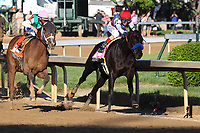1st May 2021; Kentucky, USA;   Medina Spirit (8) ridden by John Velasquez leads on the inside coming through the final turn and wins the 147th Running of the Kentucky Derby on May 1, 2021 at Churchill Downs in Louisville, Kentucky.
