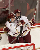 Makenna Newkirk (BC - 19), Caitrin Lonergan (BC - 11) - The Boston College Eagles defeated the visiting Boston University Terriers 5-3 (EN) on Friday, November 4, 2016, at Kelley Rink in Conte Forum in Chestnut Hill, Massachusetts.The Boston College Eagles defeated the visiting Boston University Terriers 5-3 (EN) on Friday, November 4, 2016, at Kelley Rink in Conte Forum in Chestnut Hill, Massachusetts.