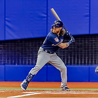 25 March 2019: Milwaukee Brewers outfielder Ben Gamel at bat during an exhibition game against the Toronto Blue Jays at Olympic Stadium in Montreal, Quebec, Canada. The Brewers defeated the Blue Jays 10-5 in the first of two MLB pre-season games in the former home of the Montreal Expos. Mandatory Credit: Ed Wolfstein Photo *** RAW (NEF) Image File Available ***