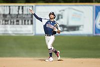 High Point-Thomasville HiToms shortstop Ethan Murray (2) (Duke) warms-up between innings of the game against the Deep River Muddogs at Finch Field on June 27, 2020 in Thomasville, NC.  The HiToms defeated the Muddogs 11-2. (Brian Westerholt/Four Seam Images)