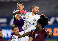 CARSON, CA - SEPTEMBER 19: David Bingham #1, Perry Kitchen #2, Nicholas DePuy #20 of the Los Angeles Galaxy and Lalas Abubakar #6 of the Colorado Rapids position themselves for a corner kick during a game between Colorado Rapids and Los Angeles Galaxy at Dignity Heath Sports Park on September 19, 2020 in Carson, California.