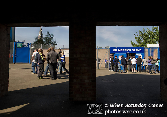 Birmingham City 1 Wolverhampton Wanderers 1, 01/05/2011. St Andrews, Premier League. Home supporters making their way towards the turnstiles at the Gil Merrick stand at St. Andrew's stadium, prior to Birmingham City's Barclay's Premier League match with Wolverhampton Wanderers. Both clubs were battling against relegation from  England's top division. The match ended in a 1-1 draw, watched by a crowd of 26,027. Photo by Colin McPherson.