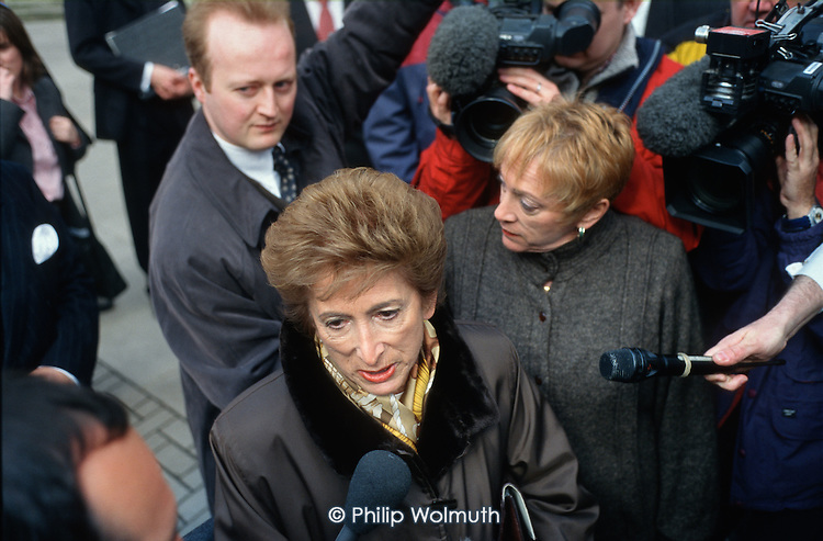 Dame Shirley Porter, ex-leader of Westminster City Council, arrives at the High Court for a hearing during the 'Homes for Votes' scandal.