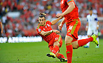 EURO 2016 QUALIFYING: WALES V ISRAEL AT CARDIFF CITY STADIUM : <br /> Gareth Bale of Wales has a shot at goal.<br /> <br /> EDITORIAL USE ONLY.