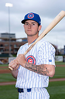 South Bend Cubs outfielder Cole Roederer (7) poses for a photo before a Midwest League game against the Cedar Rapids Kernels at Four Winds Field on May 7, 2019 in South Bend, Indiana. (Zachary Lucy/Four Seam Images)