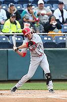 Dylan Moore (19) of the Spokane Indians bats during a game against the Everett AquaSox at Everett Memorial Stadium on July 25, 2015 in Everett, Washington. Spokane defeated Everett, 10-1. (Larry Goren/Four Seam Images)
