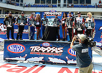 Sept. 22, 2012; Ennis, TX, USA: NHRA Funny Car Shootout drivers (L-R) Jeff Arend, John Force, Johnny Gray, Ron Capps, Robert Hight, Jack Beckman, Mike Neff and Courtney Force during qualifying for the Fall Nationals at the Texas Motorplex. Mandatory Credit: Mark J. Rebilas-