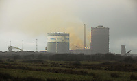 Pictured: Smoke coming from a reported fire at the Tata Port Talbot Steelworks in south Wales, UK. Thursday 11 February 2016