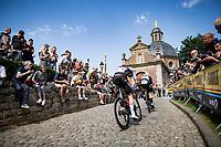 eventual stage winner Matej Mohoric (SVN/Bahrain - Victorious) up the infamous Muur van Geraardbergen / Kapelmuur<br /> <br /> 17thBenelux Tour 2021 (2.UWT)<br /> (Final) Stage 7: from Namur to Geraardsbergen (178km)<br /> <br /> ©kramon
