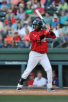 Second baseman Luis Alejandro Basabe (5) of the Greenville Drive bats in a game against the Columbia Fireflies on Saturday, April 23, 2016, at Fluor Field at the West End in Greenville, South Carolina. Columbia won, 7-3. (Tom Priddy/Four Seam Images)