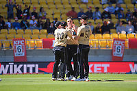 NZ's Tim Boult celebrates the dismissal of Joshua Philippe during the 5th international men's T20 cricket match between the New Zealand Black Caps and Australia at Sky Stadium in Wellington, New Zealand on Sunday, 7 March 2021. Photo: Dave Lintott / lintottphoto.co.nz