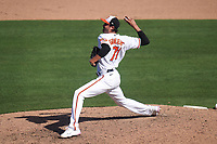 Baltimore Orioles pitcher Conner Greene (71) during a Major League Spring Training game against the Pittsburgh Pirates on February 28, 2021 at Ed Smith Stadium in Sarasota, Florida.  (Mike Janes/Four Seam Images)