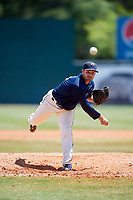 Mobile BayBears relief pitcher Ronnie Muck (15) delivers a pitch during a game against the Pensacola Blue Wahoos on April 26, 2017 at Hank Aaron Stadium in Mobile, Alabama.  Pensacola defeated Mobile 5-3.  (Mike Janes/Four Seam Images)