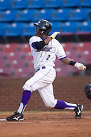 Justin Greene #2 of the Winston-Salem Dash follows through on his swing versus the Frederick Keys at Wake Forest Baseball Stadium August 6, 2009 in Winston-Salem, North Carolina. (Photo by Brian Westerholt / Four Seam Images)