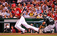 9 July 2011: Washington Nationals outfielder Jayson Werth hits into a double-play to end the game against the Colorado Rockies at Nationals Park in Washington, District of Columbia. The Nationals were edged out by the Rockies 2-1, dropping the second game of their 3-game series. Mandatory Credit: Ed Wolfstein Photo