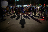 Brooklyn, New York<br /> May 30, 2020<br /> Park Slope<br /> <br /> Grand Army Plaza, demonstrators outraged over the wrongful death of George Floyd at the hands of the police in Minneapolis, Minnesota confront New York police.