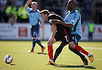 Andy Little beats Marvin Andrews to score the only goal for Rangers up at Forfar