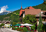 Oesterreich, Tirol, Oetztal - ein Seitental des Inntals - Dorf Oetz, Namensgeber des gesamten Tals: Hauptstrasse mit Posthotel Kassl | Austria, Tyrol, Oetz Valley, village Oetz: main street with Post-Hotel Kassl