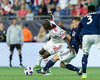 Foxborough, Massachusetts - June 2, 2018: In a Major League Soccer (MLS) match, New England Revolution (blue/white) defeated New York Red Bulls (white), 2-1, at Gillette Stadium.
