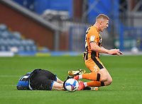 Hull City's Greg Docherty is fouled by  Rochdale's Jake Beesley<br /> <br /> Photographer Dave Howarth/CameraSport<br /> <br /> The EFL Sky Bet League One - Rochdale v Hull City - Saturday 17th October 2020 - Spotland Stadium - Rochdale<br /> <br /> World Copyright © 2020 CameraSport. All rights reserved. 43 Linden Ave. Countesthorpe. Leicester. England. LE8 5PG - Tel: +44 (0) 116 277 4147 - admin@camerasport.com - www.camerasport.com