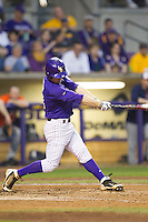 LSU Tigers shortstop Alex Bregman #30 swings the bat against the Auburn Tigers in the NCAA baseball game on March 23, 2013 at Alex Box Stadium in Baton Rouge, Louisiana. LSU defeated Auburn 5-1. (Andrew Woolley/Four Seam Images).