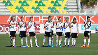 20180307 - LARNACA , CYPRUS : Austrian team pictured celebrating after winning the penalty-shootout during a women's soccer game between Austria and Wales , on wednesday 7 March 2018 at the AEK Arena in Larnaca , Cyprus . This is the final game for the 7th and 8th  place  for Austria and Wales on the Cyprus Womens Cup , a prestigious women soccer tournament as a preparation on the World Cup 2019 qualification duels. PHOTO SPORTPIX.BE | DAVID CATRY