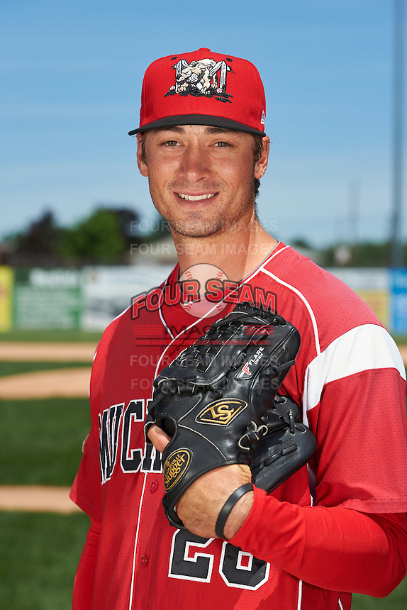 Batavia Muckdogs pitcher Reilly Hovis (28) poses for a photo before the teams first practice on June 15, 2016 at Dwyer Stadium in Batavia, New York.  (Mike Janes/Four Seam Images)
