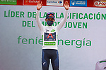 Egan Bernal (COL) Ineos Grenadiers retains the young riders White Jersey at the end of Stage 15 of La Vuelta d'Espana 2021, running 197.5km from Navalmoral de la Mata to El Barraco, Spain. 29th August 2021.     <br /> Picture: Luis Angel Gomez/Photogomezsport | Cyclefile<br /> <br /> All photos usage must carry mandatory copyright credit (© Cyclefile | Luis Angel Gomez/Photogomezsport)