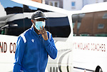 Hibs v St Johnstone…22.09.21  Easter Road.    SPFL<br />Efe Ambrose arrives at Easter Road ahead of todays match against Hibs<br />Picture by Graeme Hart.<br />Copyright Perthshire Picture Agency<br />Tel: 01738 623350  Mobile: 07990 594431