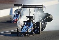 Oct. 27, 2012; Las Vegas, NV, USA: NHRA top fuel driver J.R. Todd during qualifying for the Big O Tires Nationals at The Strip in Las Vegas. Mandatory Credit: Mark J. Rebilas-